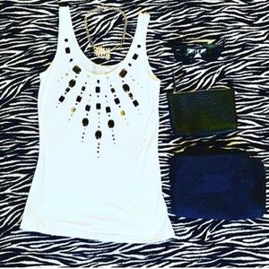 Candies white tank top with gems